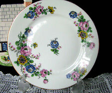 "Limoges France Pink Blue and Yellow Anemone Flowers 7 3/8"" Salad Dessert Plate"