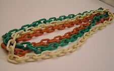 3  Lucite Plastic Snap Link Chunky Necklace Cream Salmon & Green Colors Acrylic