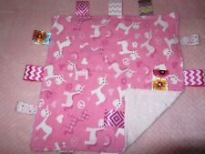 Pink Girl Unicorn Flannel/Minky Tag Ribbon Security Blanket