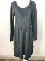 anthropologie saturday sunday Women Large Gray Cotton Embroidered Sheath Dress H