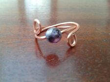 Purple banded agate Gemstone Ring Copper - Size P+