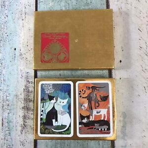 """DAVID WESTNEDGE PLAYING CARDS """"ROSINA WACHTMEISTER CATS"""" 2 DECK OF CARDS, BOXED"""