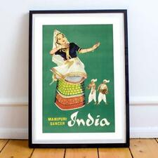 INDIA MANIPURI DANCER 10 22X34 INCHES VINTAGE TRAVEL POSTER P/P
