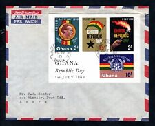 Ghana 1960 Republic Day Minisheet on Airmail Cover Ministry B.O. Accra Postmark