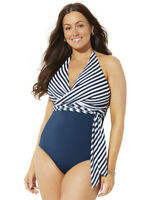 Swimsuits For All Women's Plus Size Faux Wrap Halter One Piece Swimsuit