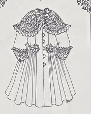 "20-21""ANTIQUE DOLL RIBBON&ROSETTE COAT-DRESS PATTERN/FRENCH JUMEAU-GERMAN CHILD"