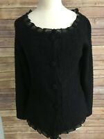 St John Couture Black Blazer Jacket Size 4 Texture Ruffle Button Front Belt