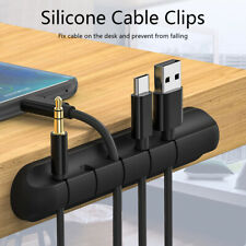 CABLE ORGANISER BLACK SILICONE DESKTOP CABLE TIDY MANAGEMENT SYSTEM^