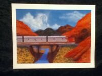 "ORIGINAL SKIL SAW ART 11"" Print Chief South Midwest Mountain River Bridge Train"