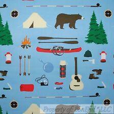 BonEful Fabric FQ Cotton Quilt Blue Brown Bear Cabin Camp Tent Boy Scout Fish US