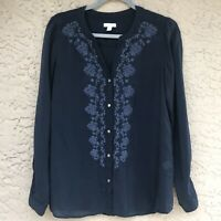 J Jill Women's Blue Boho Embroidered Button Front V Neck Blouse Shirt Top Small