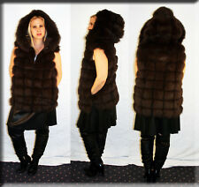 New Hooded Chocolate Brown Fox Fur Vest Size Medium 6 8 M Efurs4less
