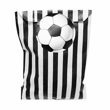 Black & white paper party bags & 60mm 3D effect football stickers - 24 of each