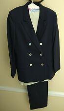 DonCaster 3 Piece Lot: Jacket, Pants & Blouse Size 12 Dark Blue color