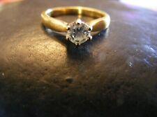18 CT Solitario Diamante Anillo de oro, 33 puntos,, Vintage Anillo, buena condición .750,