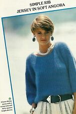 "1716 femmes angora simple rib pull 34-38"" 81-102cm vintage knitting pattern"