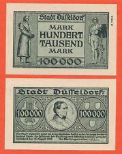Düsseldorf 100.000 Mark 15.8.1923 Notgeld Papiergeld ( 399
