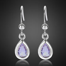 White Gold Plated Dangle Earrings Earing Xmas Jewelry Lady Pear Cut Tanzanite