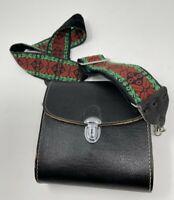 Vintage Binocular Case With green red embroidered Strap hard case red liner