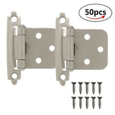 50X Self Closing Face Mount Kitchen Cupboard Cabinet Hinges Satin Nickel + Screw