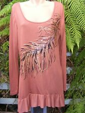 Crossroads TUNIC TOP Size XL-18/20 Chestnut Brown FRILL Hem NEW rrp$39.95