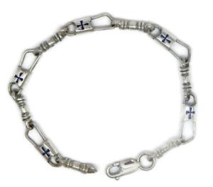 ACTS Bracelet Fishers of Men Sterling Silver REGULAR LINK, Blue Maltese Cross!!