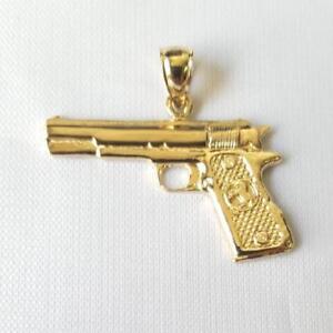 14k Yellow Gold HANDGUN PISTOL GUN Pendant / Charm, Made in USA