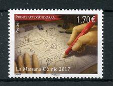 Andorra Francesa 2017 estampillada sin montar o nunca montada La Massana Comic Festival 1v Set Comics Dibujos Animados sellos