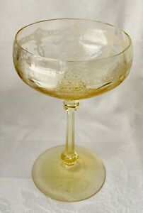 TIFFIN CRYSTAL ETCHED MANDARIN YELLOW CHAMPAGNE TALL SHERBET GLASS, XCLNT COND