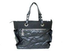 Authentic CHANEL Black Paris Biarritz GM Coated Canvas Nylon Handbag