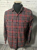 Woolrich Mens Cotton Flannel Button Down Plaid Red/Black Shirt Size large