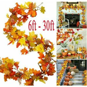 30ft Artificial Autumn Fall Maple Leaves Garland Hanging Plant Home Party Decor