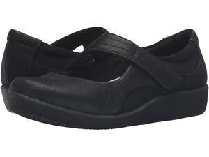 NEW CLARK BLACK COMFORT MARY JANE WEDGE FLATS SIZE 7.5 M SIZE 8 M SIZE 8.5 M $90