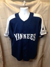 Men's NY Yankee Starter Jersey with sewn Letters Blue Large L Men