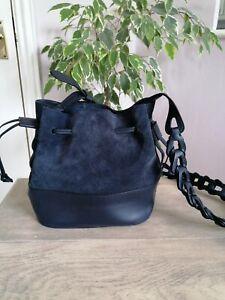 Next Leather Navy Blue Suede & Leather Long Strap Shoulder Bag Used Once