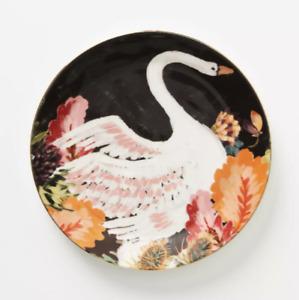 "New Anthropologie Henriette Swan Dessert Plate Black Floral 8.25"" Diameter"