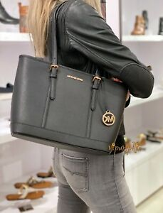 Michael Kors Jet Set Travel Small Top Zip Shoulder Tote Leather Bag Black