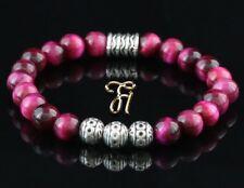 Tigerauge pink Armband Damen Bracelet Perlenarmband Silber Beads