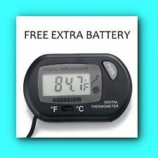 New TINY SEAS Digital LCD Aquarium Temperature Thermometer  FREE EXTRA BATTERY