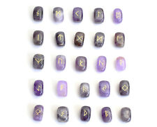 """0.6 x 0.4"""" Small Size Amethyst Rune Stones Engraved Pagan Lettering Wiccan Set"""