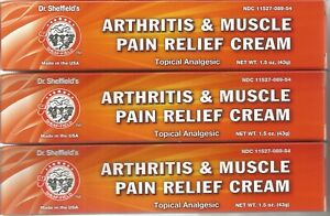 3 Packs DR.SHEFFIELD'S THERMA-RUB ARTHRITIS & MUSCLE PAIN RELIEF CREAM 1.5 oz