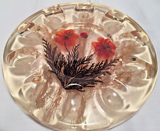 Resin 10 Egg Plate Dried Flowers Ladybug Design Gifts USA Made Vtg 70s