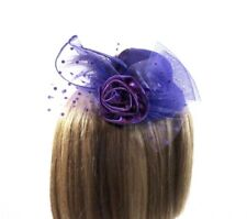 Purple Rose Dotted Netting Feathers Society Mini Hat Fascinator Red Hat Ladies
