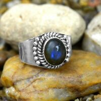 925 Sterling Silver Natural Blue Fire Labradorite Gemstone Handmade Ring 9 US