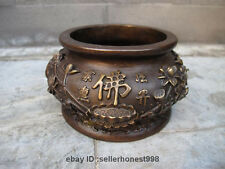 Tibet Temple Bronze Buddhism lotus flower Buddha word Censer Incense Burner