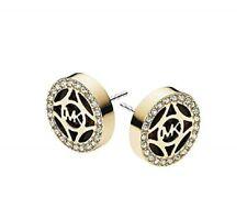 Crystals Monogram Stud Earrings-Mkj4275 New Michael Kors Gold Tone+Tort,Pave