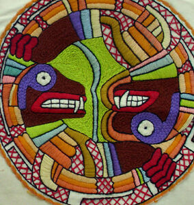 Vintage Mandala Faces Tapestry Wall Hanging Tribal Monsters Original Artwork Art