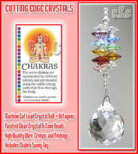 Chakra 30mm Crystal Ball Suncatcher with Coloured Oct