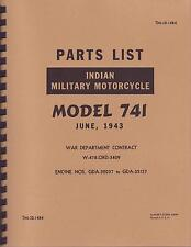 Indian 741 WWII Motorcycle ~ Parts List ~ Manual ~ TM10 1484 ~ Reprnt