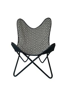 Chair Butterfly Leather Seat Folding Vintage Black White Home Sleeper Furniture